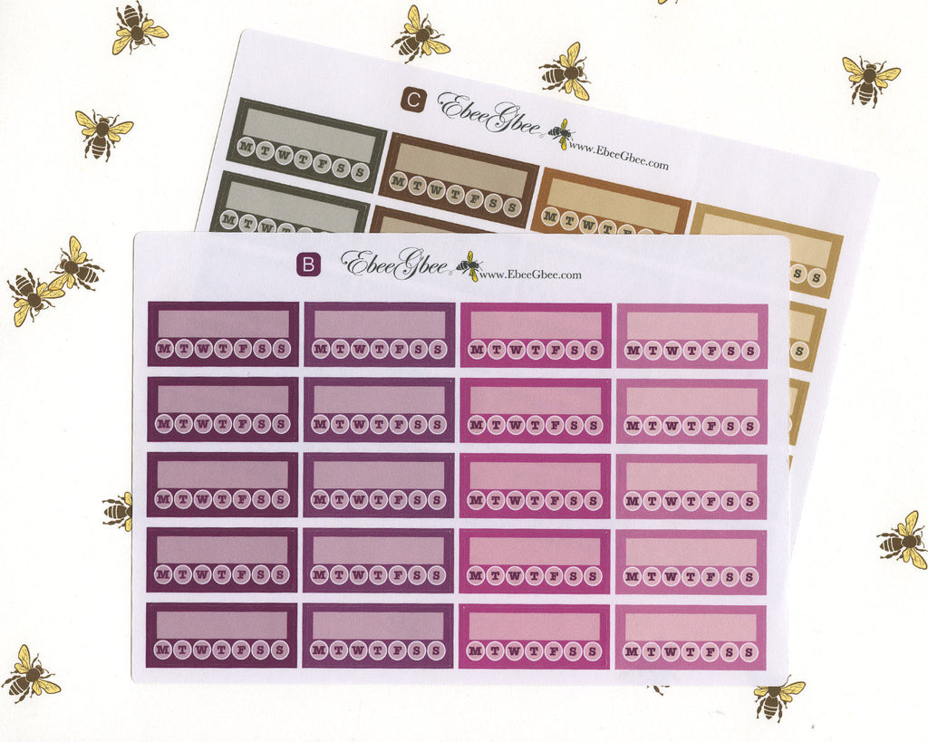 WEEKLY HABIT TRACKER Boxes Planner Stickers | BeeMore