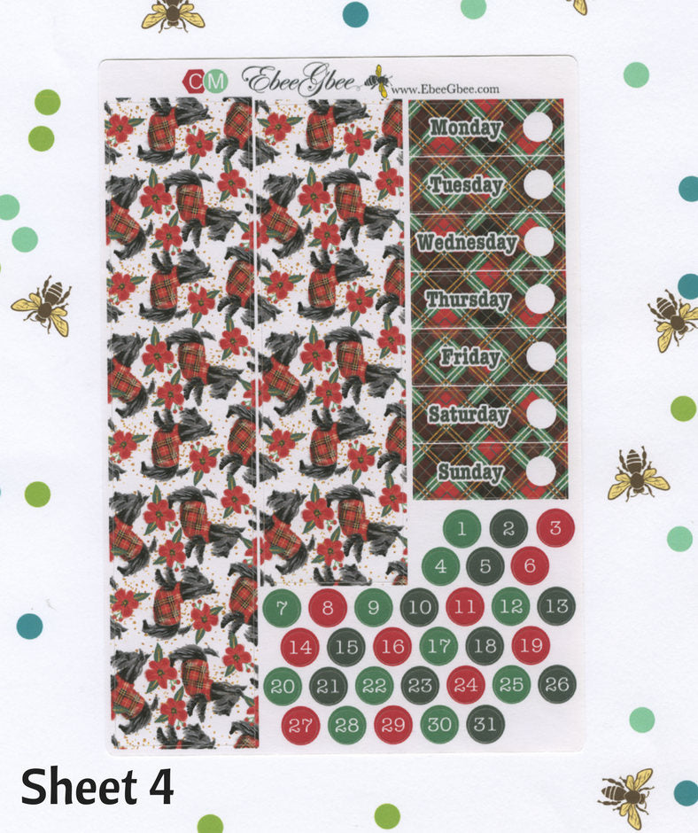 A LA CART NOEL Christmas Weekly Planner Sticker Sheets | BeeColorful Mint BeeBright Cherry