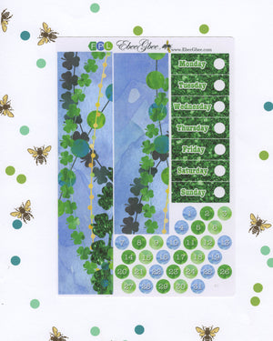 LUCKY DELUXE Weekly Planner Sticker Set |BeeColorful Lime Periwinkle BeeBright Frog