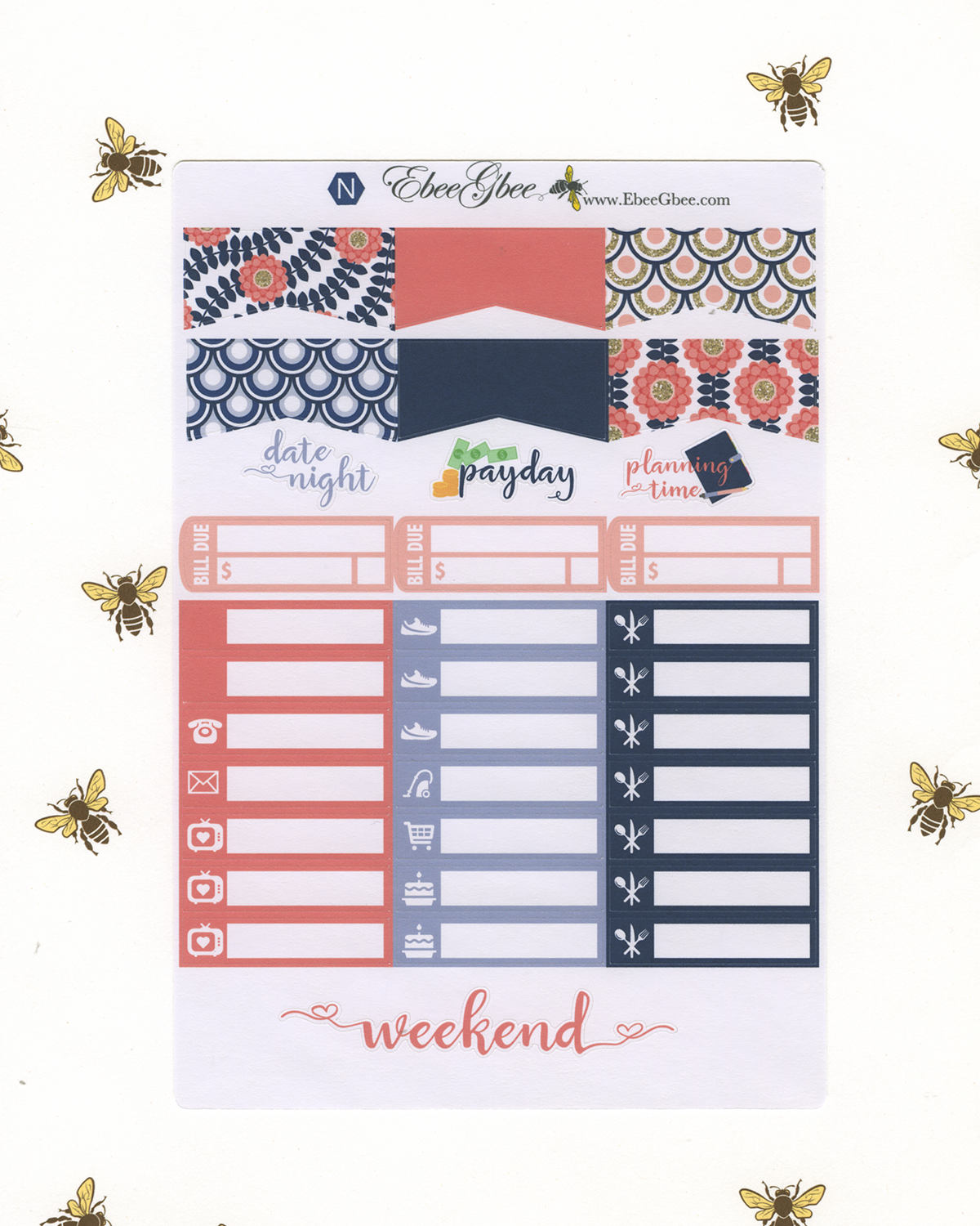 PINK & NAVY WEEKLY Planner Sticker Set | BeeBright Navy