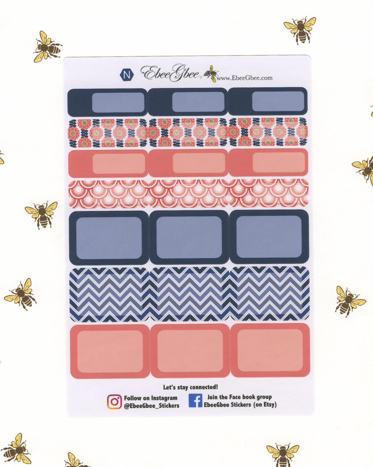 PINK & NAVY DELUXE Weekly Planner Sticker Set | BeeBright Navy