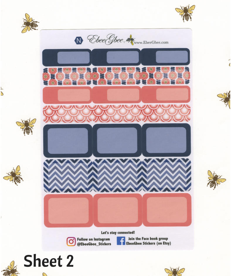 A LA CART Pink & Navy Weekly Planner Sticker Sheets | BeeBright Navy