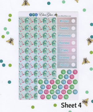 A LA CART Succulent Garden Weekly Planner Sticker Sheets | Teal Pine Sky
