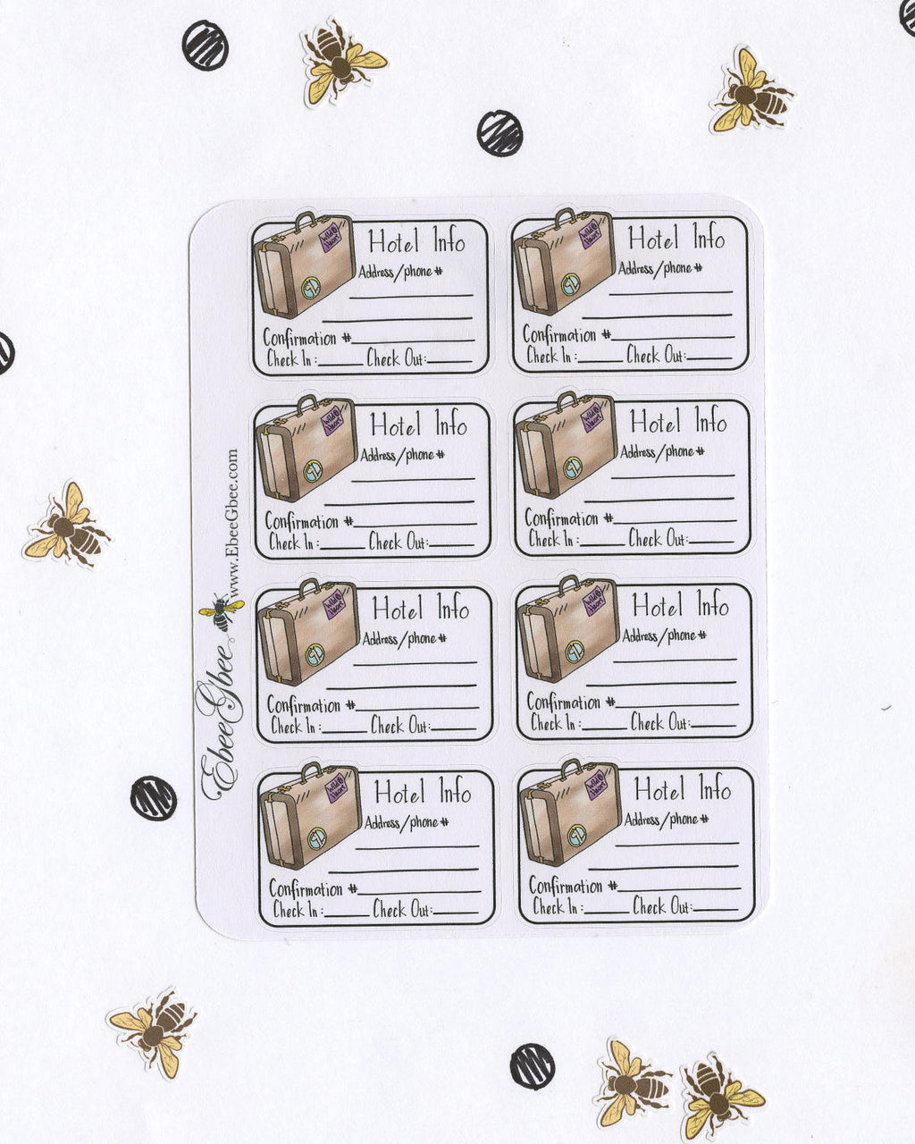 HOTEL RESEVATION TRAVEL PLANS Planner Stickers | Hand Drawn BuJo Style