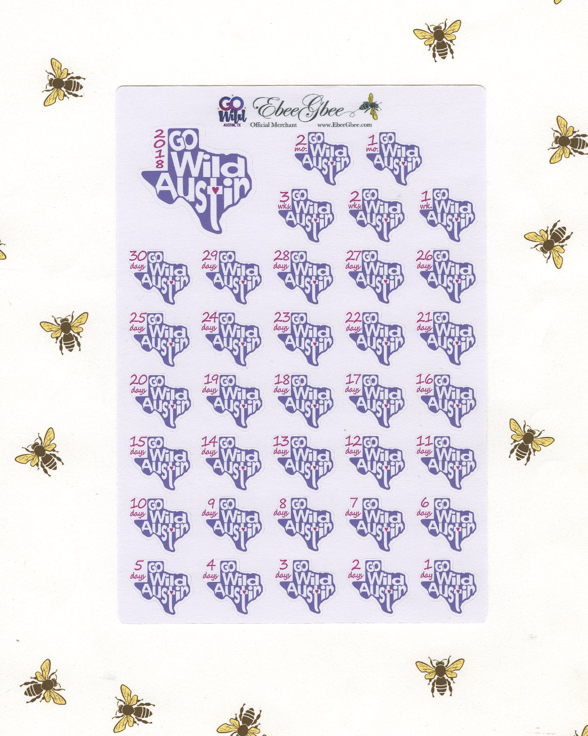 GO Wild COUNTDOWN  Planner Sticker Sheets | AUSTIN 2018