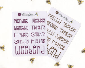 TYPOGRAPHY WEEKDAYS Planner Stickers |  All Colors Avalible