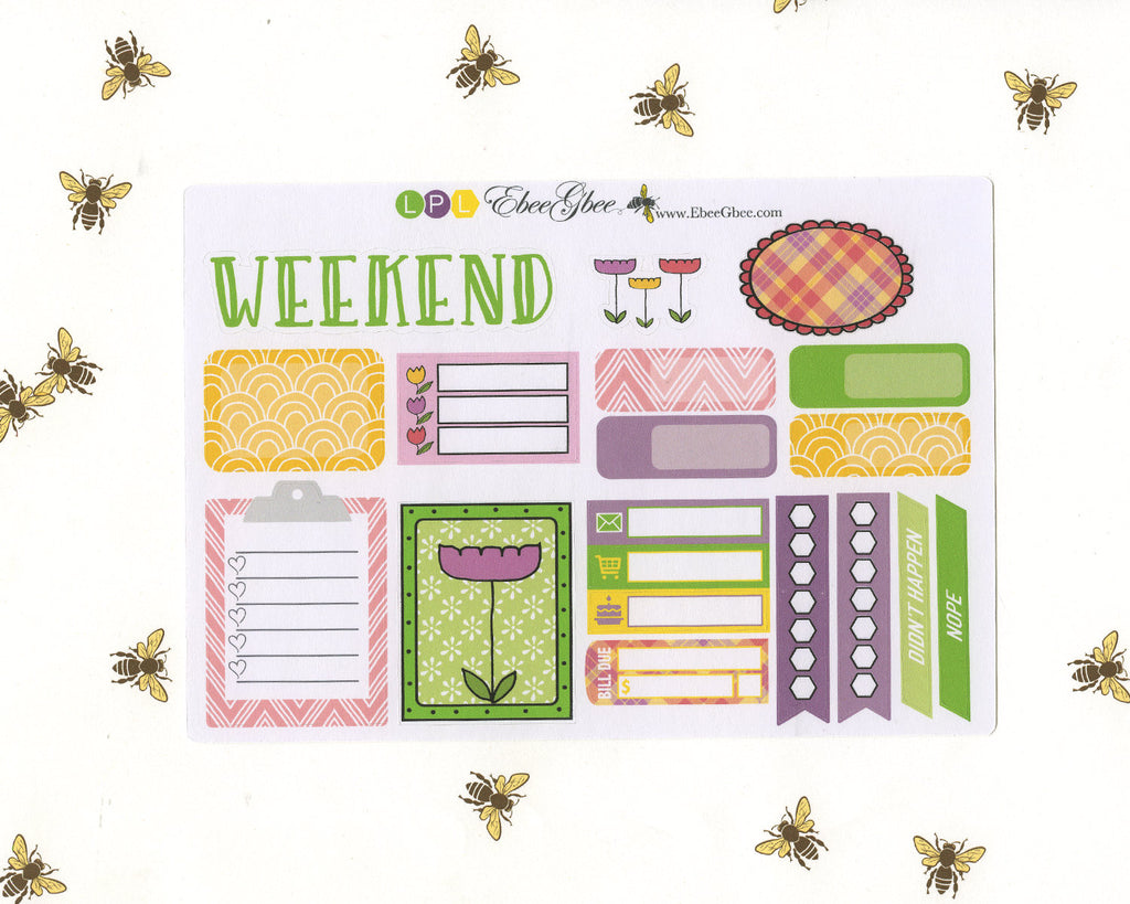 BLOOM SAMPLER Weekly Planner Sticker Set | Lime Plum Lemon