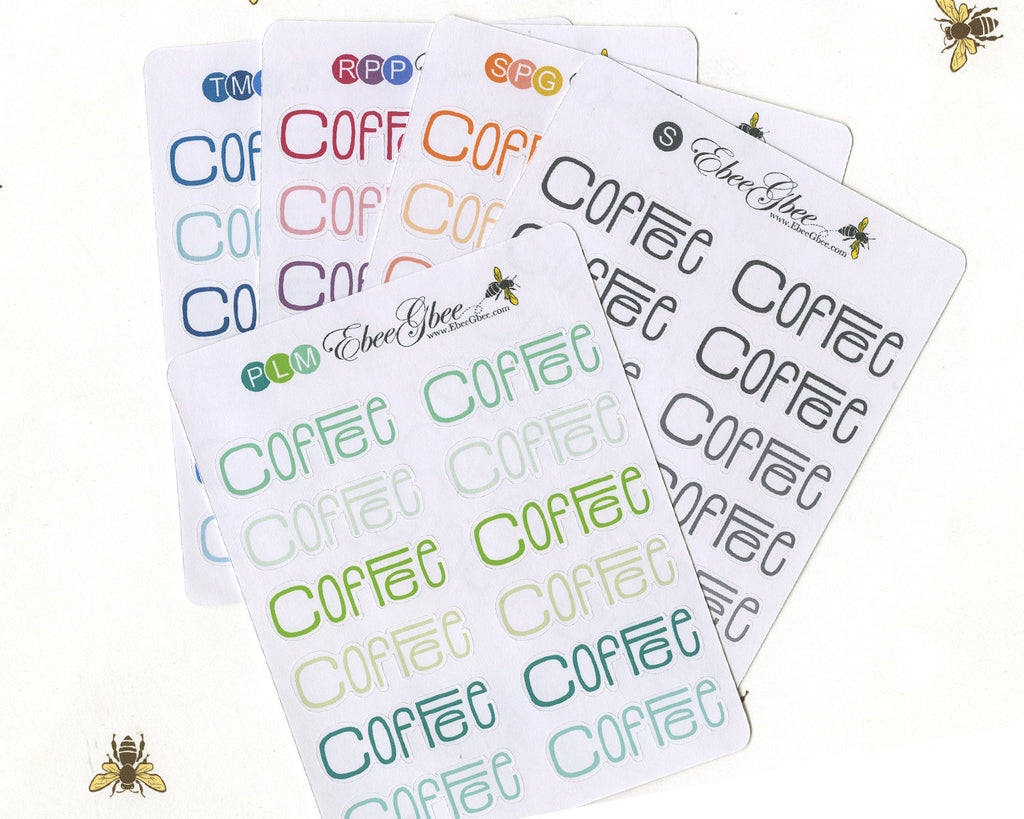 COFFEE TYPOGRAPHY Planner Stickers |  BeeColorful
