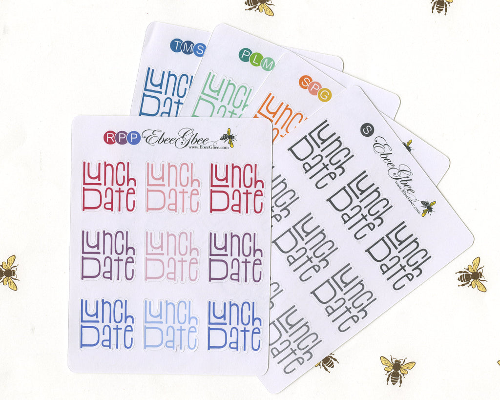 LUNCH DATE TYPOGRAPHY Planner Stickers |  BeeColorful
