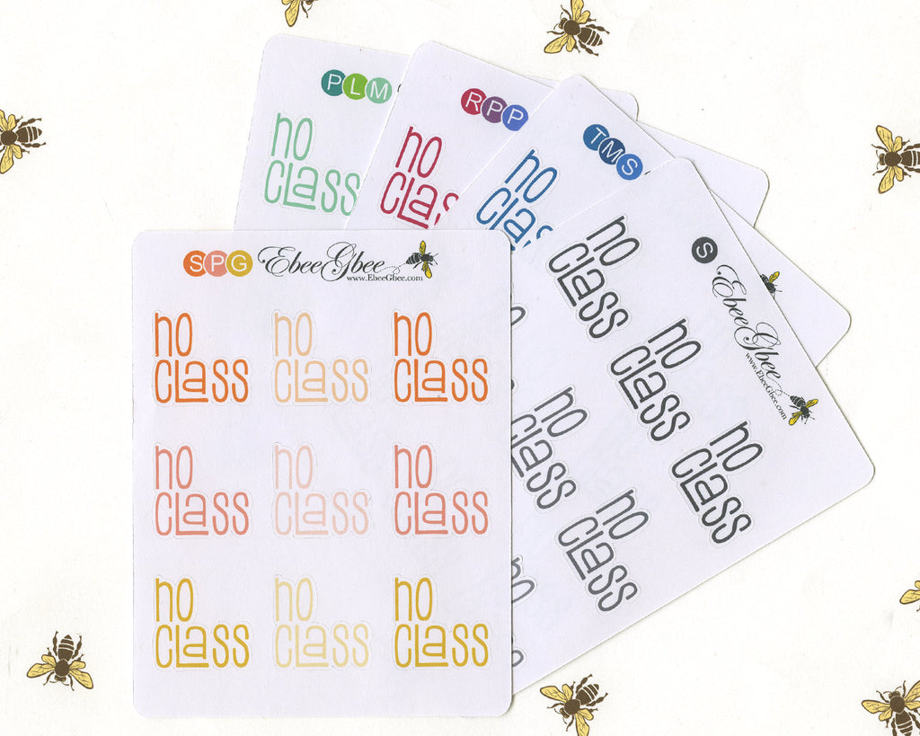 NO CLASS TYPOGRAPHY Planner Stickers |  BeeColorful