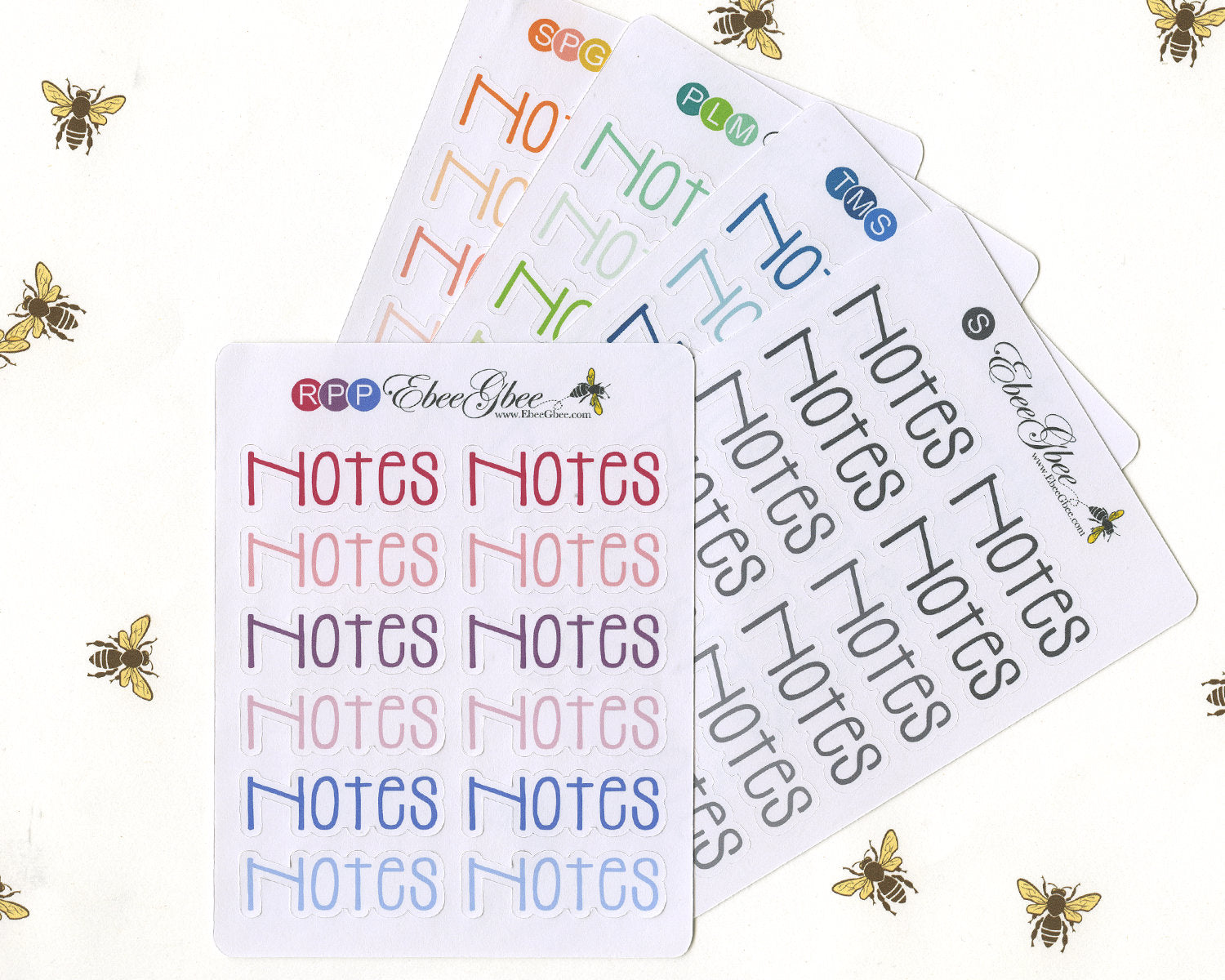 NOTES TYPOGRAPHY Planner Stickers |  BeeColorful