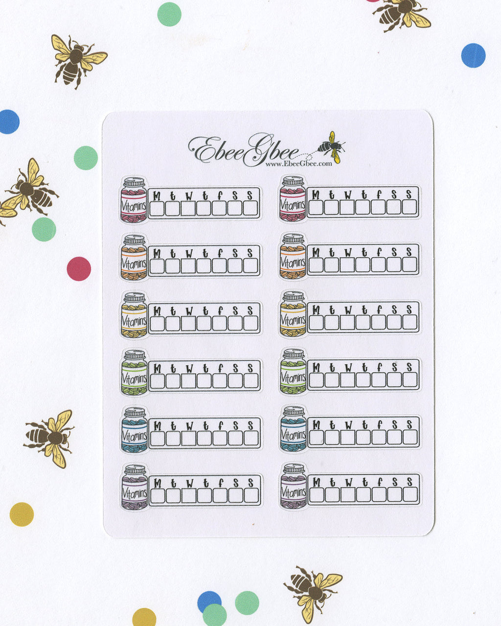 VITAMIN WEEKLY TRACKER Planner Stickers | BeeColorful