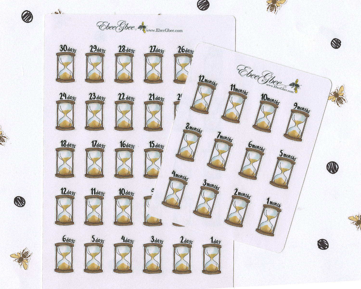 HOURGLASS COUNTDOWN Planner Stickers | Hand Drawn