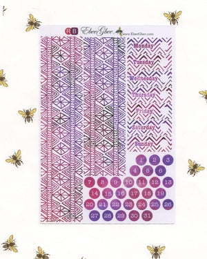 A LA CART FEATHER Weekly Planner Sticker Sheets | BeeColorful Rose BeeMore Bougainvillea