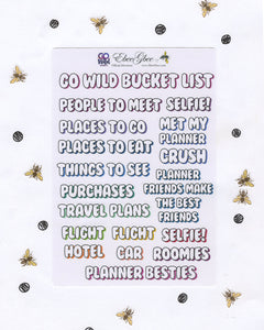 GO Wild BuJo BUCKET LIST Planner Sticker Sheets | BuJo Style