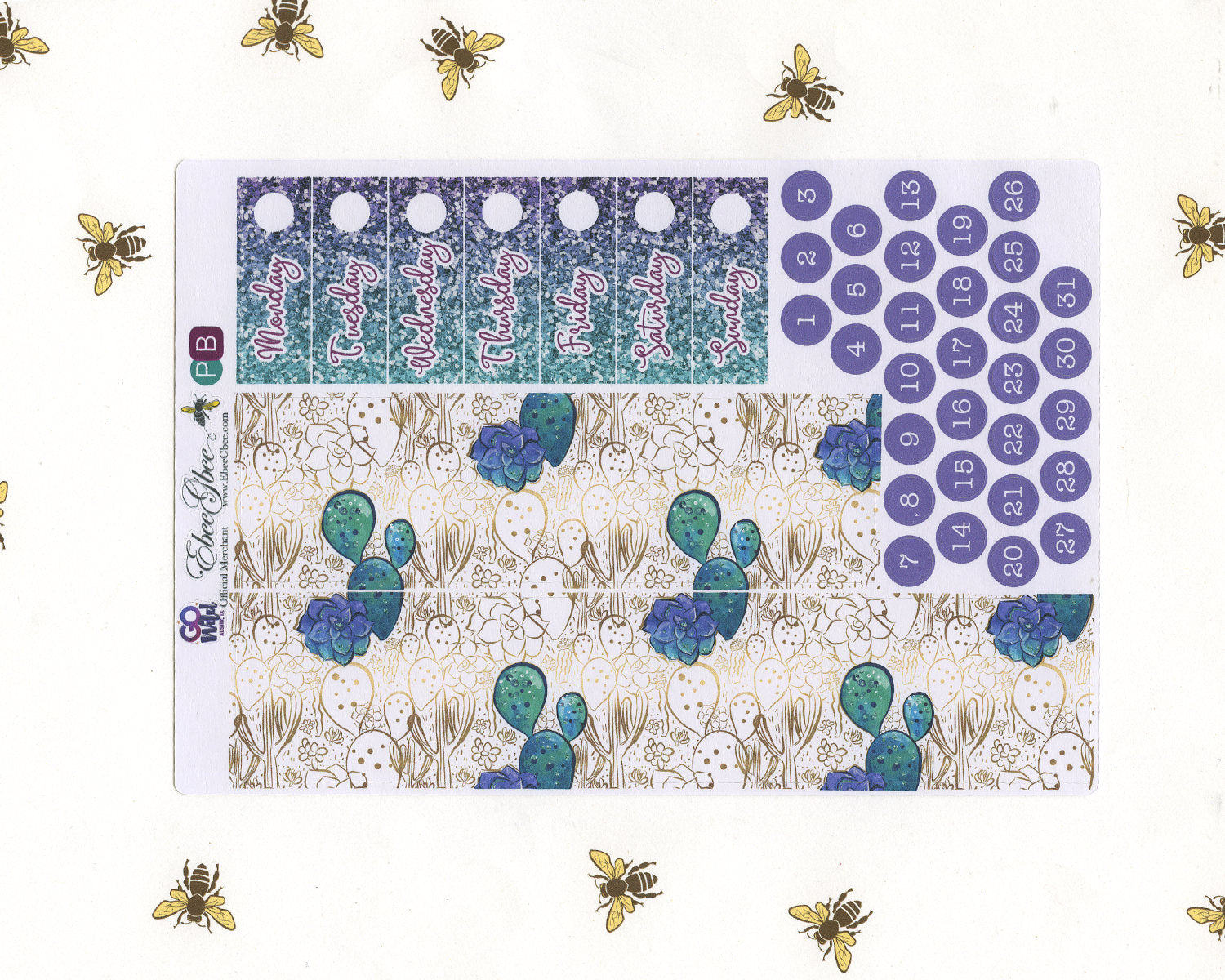 A LA CART GO Wild & Free Weekly Planner Sticker Sheets | Pine Bougianvillea