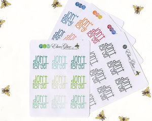 DON'T FORGET TYPOGRAPHY Planner Stickers |  BeeColorful