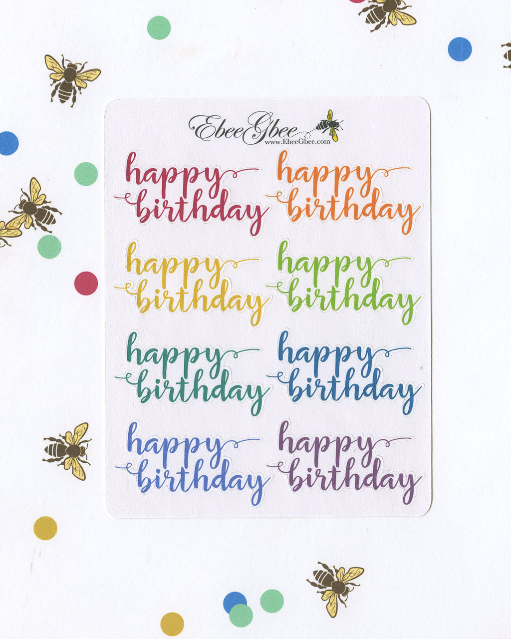 HAPPY BIRTHDAY SCRIPT Planner Stickers |  BeeColorful