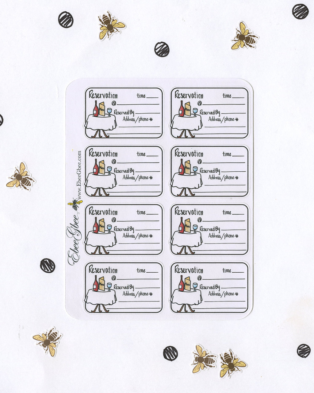 RESTAURANT RESERVATION  Planner Stickers | Hand Drawn BuJo Style