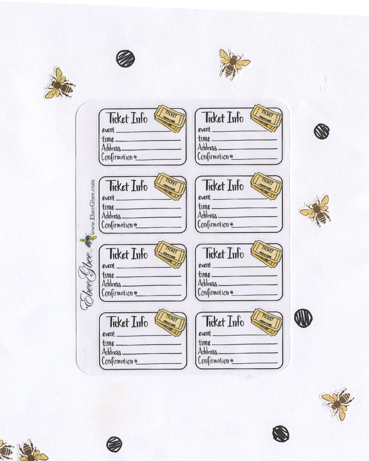 TICKET INFO  Planner Stickers | Hand Drawn BuJo Style