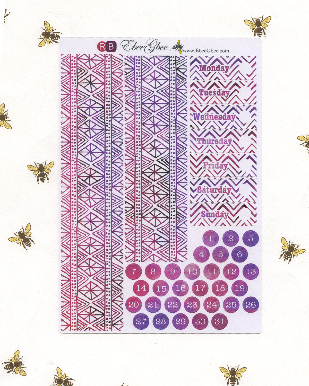 FEATHER DELUXE Weekly Planner Sticker Set | Rose Bougainvillea