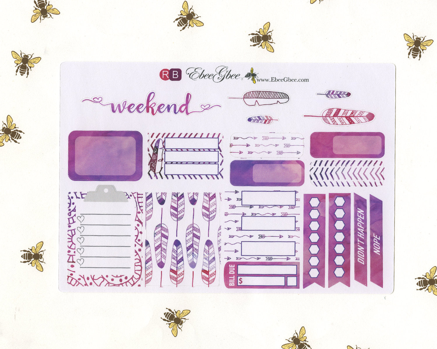 FEATHER SAMPLER Weekly Planner Sticker Set | Rose Bougainvilla