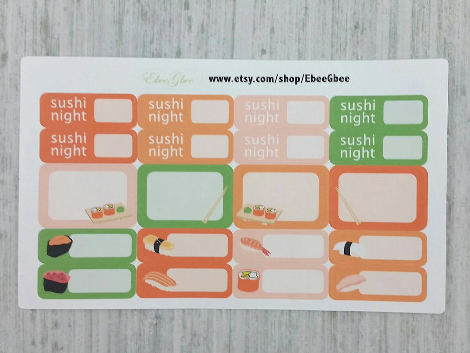 Sushi Night Planner Stickers (RM013)