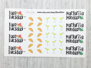 Taco Tuesday Margarita Monday Stickers (LT019)