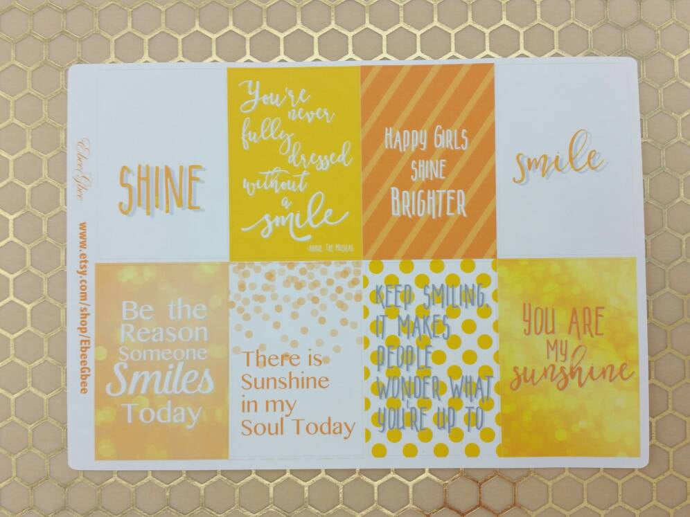 SMILE & SHINE QUOTES Full Box Stickers