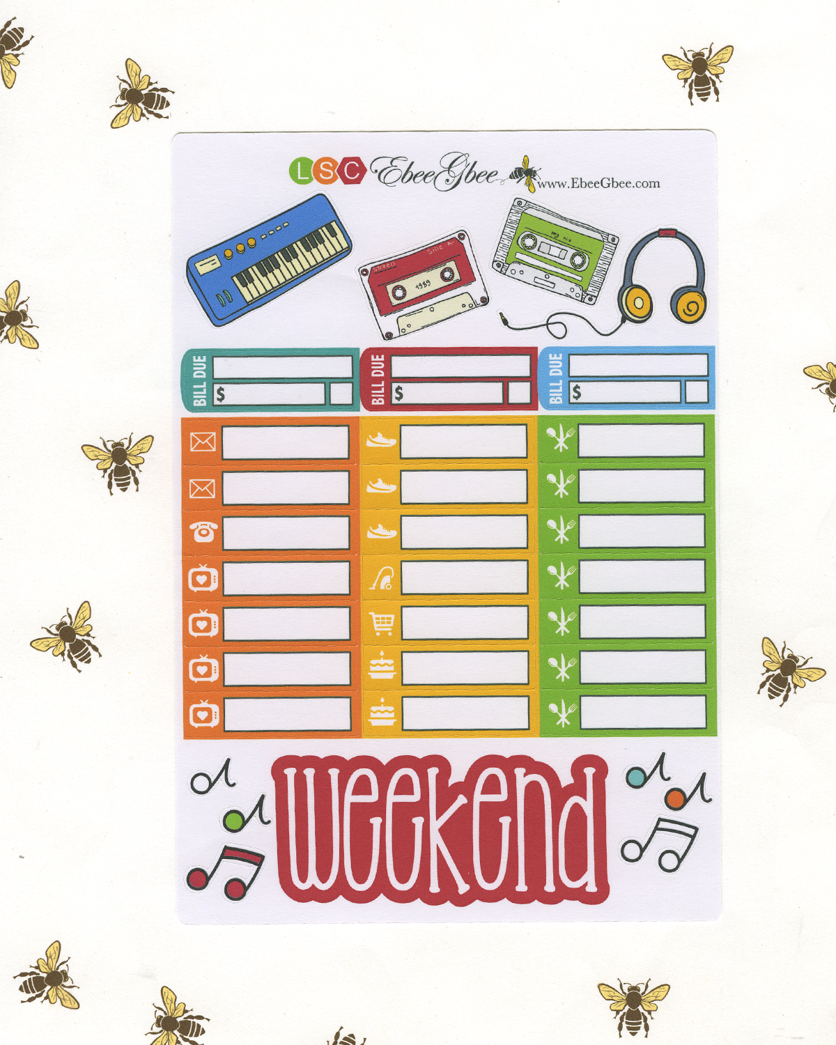 MIX TAPE DELUXE Weekly Planner Sticker Set | CHERRY LIME SUNSET