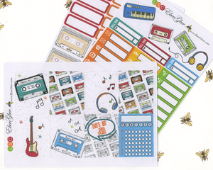 MIX TAPE WEEKLY Planner Sticker Set | Sunset Cherry Lime