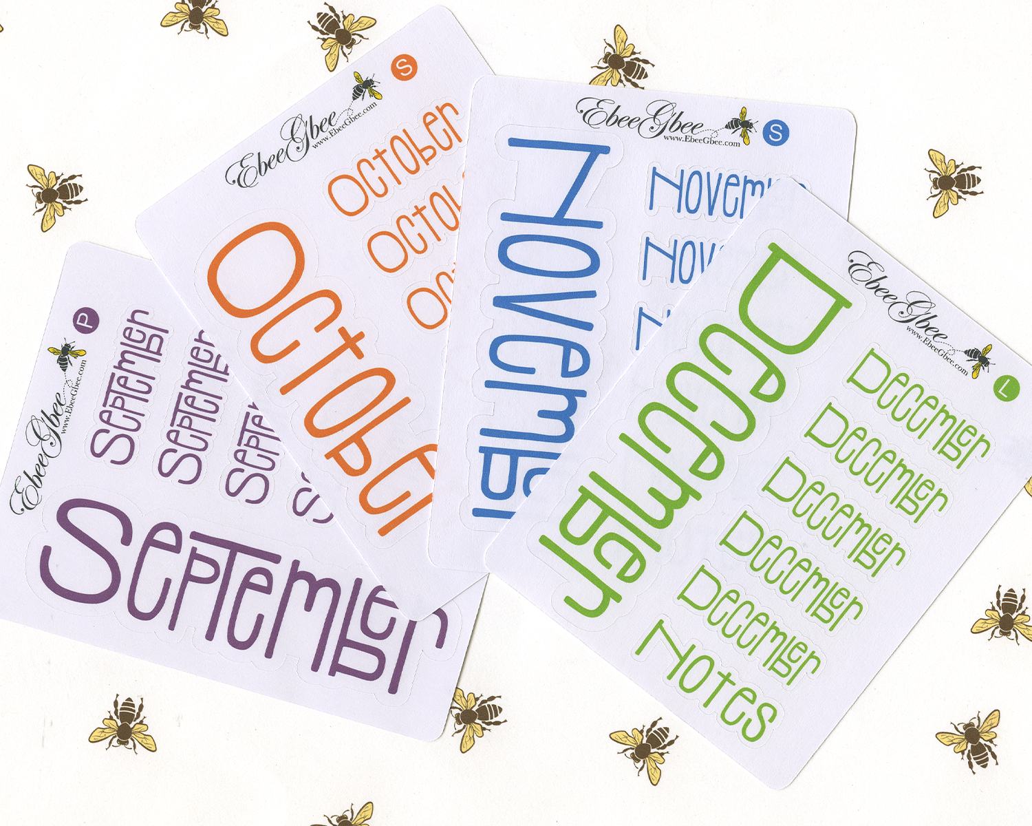 TYPOGRAPHY MONTH Planner Stickers | SET OF 12 All Colors Available