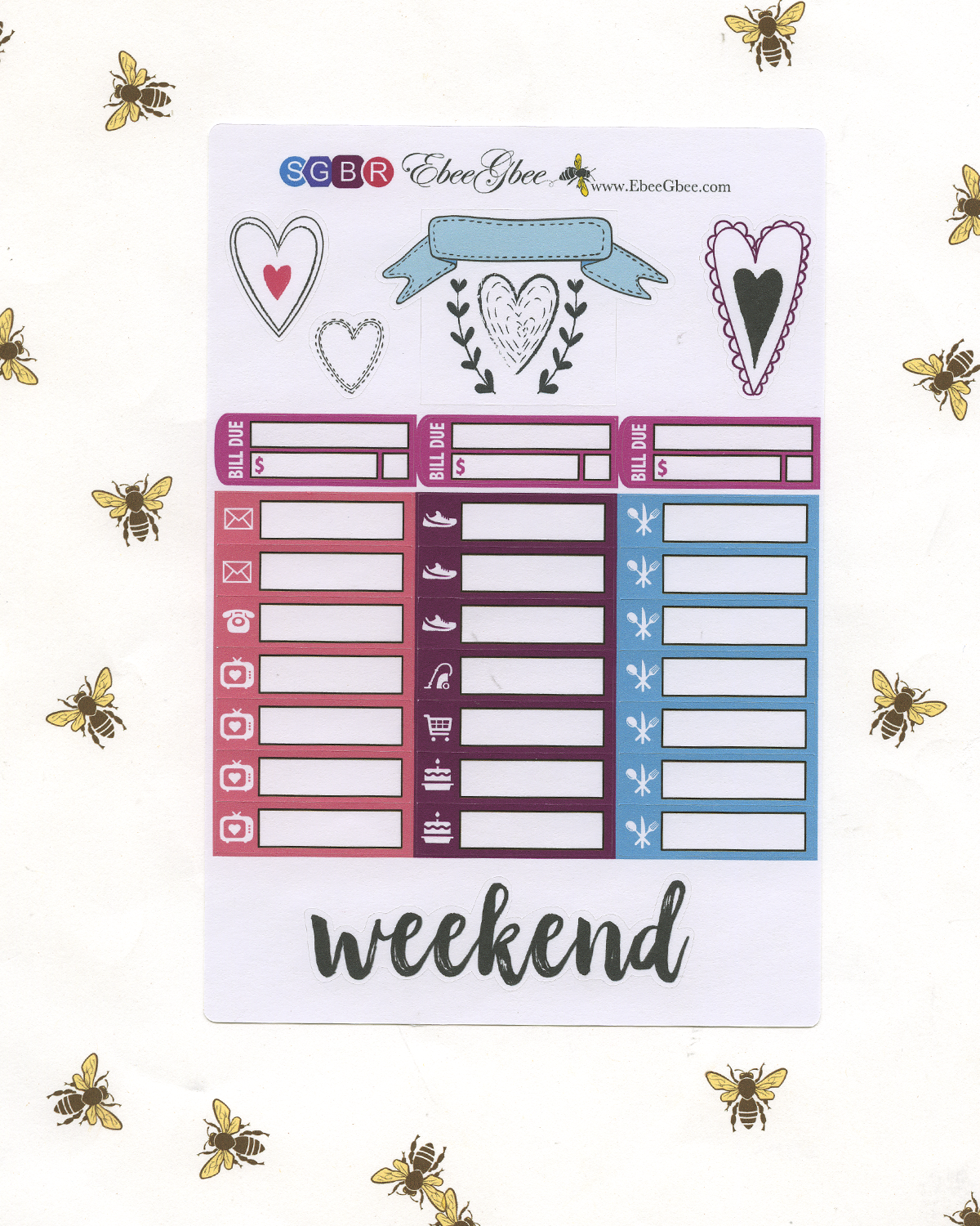 SWEETHEART DELUXE Weekly Planner Sticker Set | Rose Bougainvillea Grape Sky