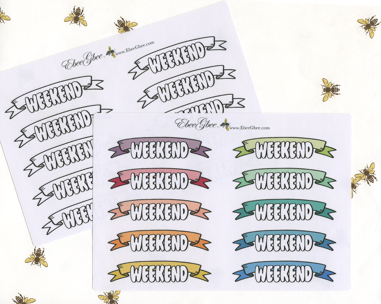 BUBBLE LETTER WEEKEND BANNERS Planner Stickers | BeeColorful
