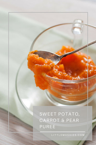 Sweet Potato, Carrot And Pear Baby Puree - Little Mashies Reusable Pouches