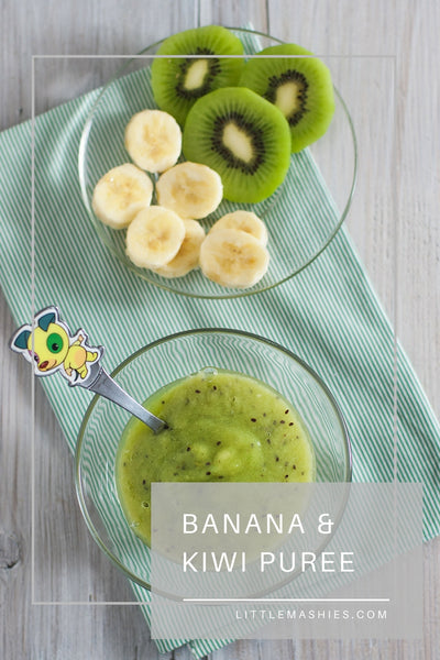 Kiwi And Banana Baby Puree - Little Mashies Reusable Pouches