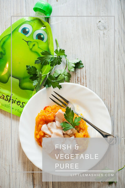 Fish And Vegetable Puree - Little Mashies Reusable Pouches