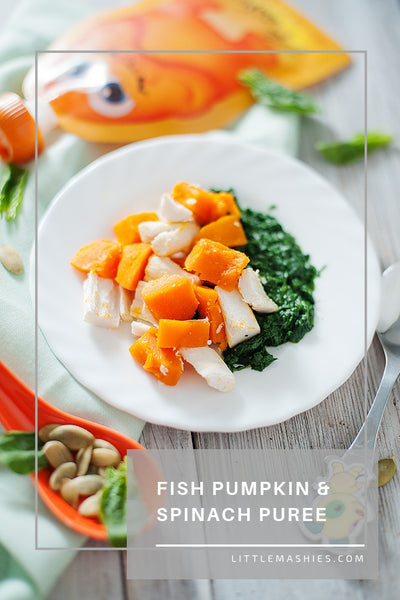 Fish Pumpkin & Spinach Puree - Little Mashies Reusable Pouches