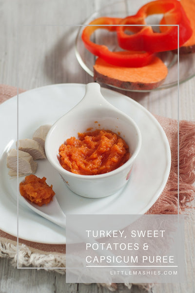 Turkey, Capsicum And Sweet Potato Baby Puree - Little Mashies Reusable Pouches