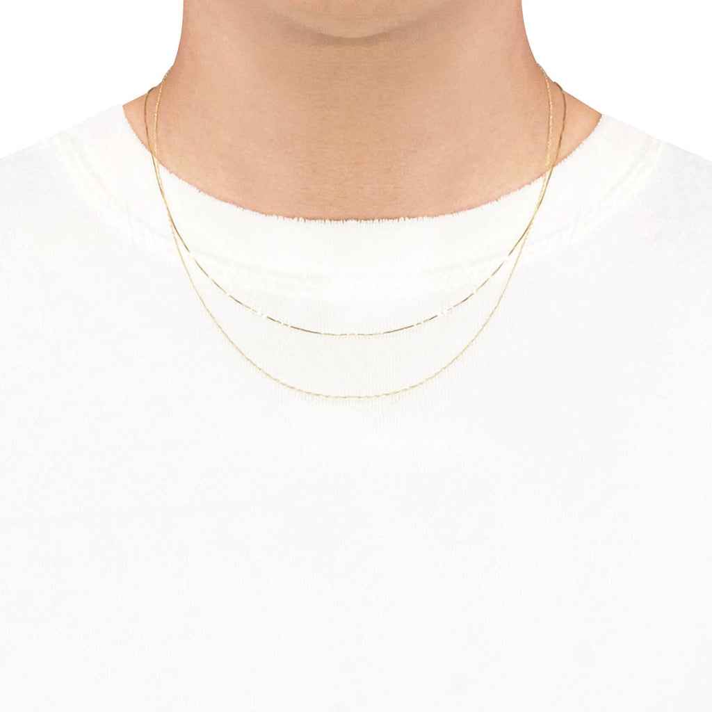 14K Gold 045 Box Chain Gold Necklace