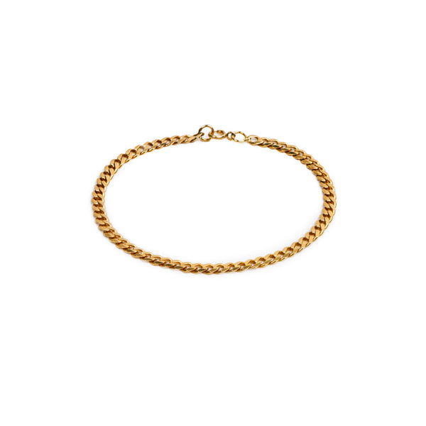 3.4mm CLASSIC FLAT CURB CHAIN BRACELET GOLD