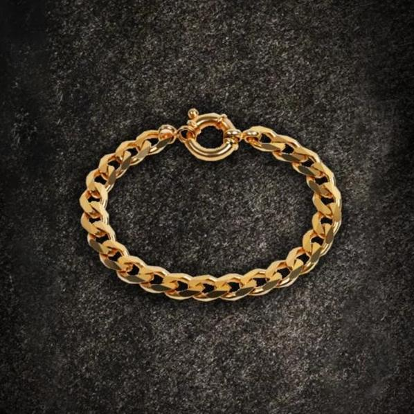 7.1mm Flat Chain Bracelet Gold