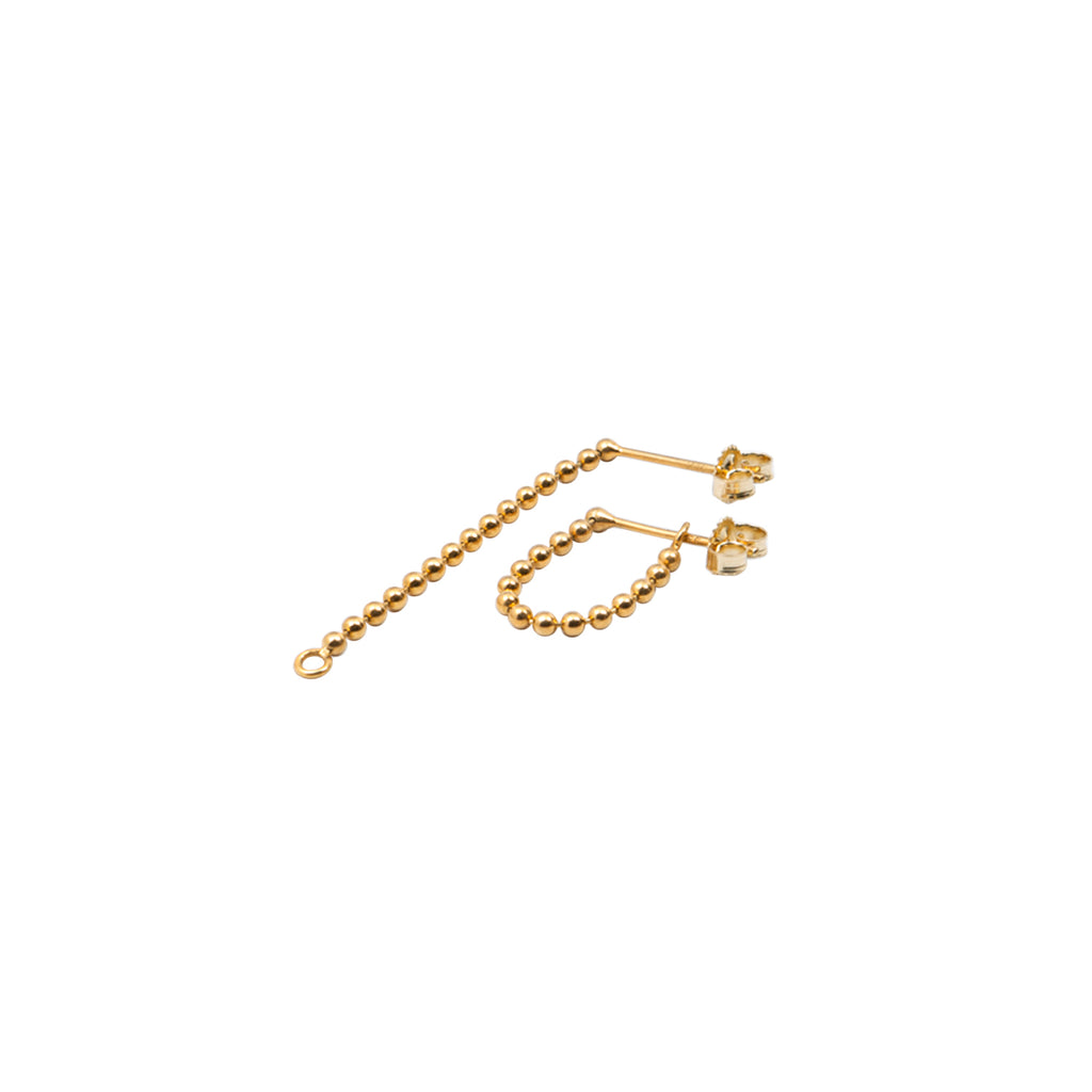 Beads Chain Earring w/ O-ring Hook Gold - Long