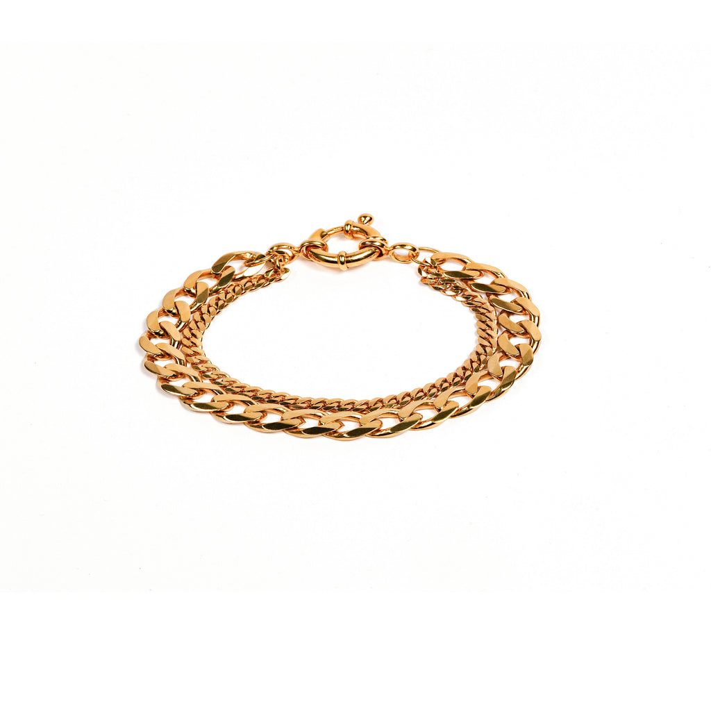 New Flat Curb Chain Bracelet Gold
