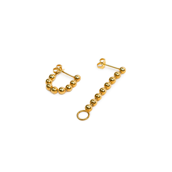 Big Beads Chain Earring w/ O-ring Hook Vermeil