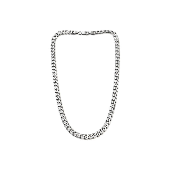 Gun Metal Flat Curb Chain Necklace