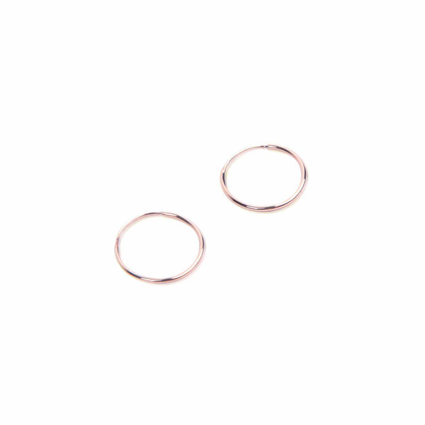 14K Endless Hoop Earring Rose Gold -Small