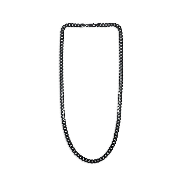 Black Ruthenium Finish Flat Chain Necklace