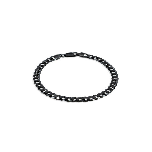 Black Ruthenium Finish Flat Curb Chain Bracelet