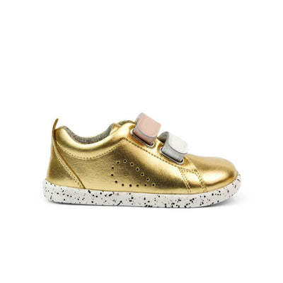 Bobux I Walk Grass Court Switch Kids Gold Metallic  (White + Seashell) Side